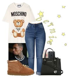 """M O S C H I N O "" by melaninaire ❤ liked on Polyvore featuring Moschino, MICHAEL Michael Kors and UGG"
