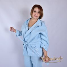 a45fb7351ce7d linen for women Short jacket robe with hood High quality European linen  Made from 100% washed linen