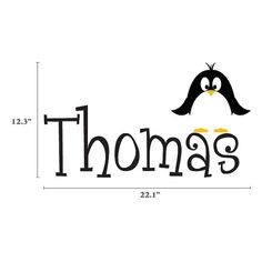 Custom Name With Penguin - Children's Room Wall Art Vinyl Personalized Boy Girl Baby Toddler Decal
