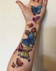Tattoo viele Schmetterlinge 3D farbig
