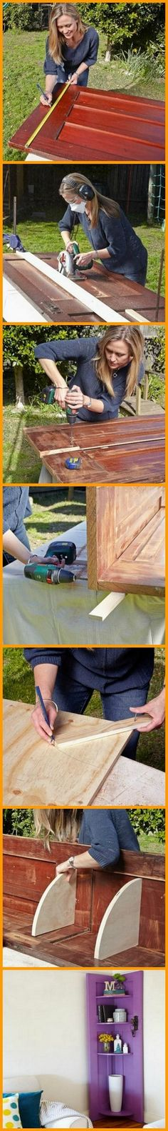 This DIY corner shelf is a clever way of giving new purpose to old doors. Turn an old door into a corner shelf by viewing the full album of the project at http://theownerbuildernetwork.co/n0qa Is ther