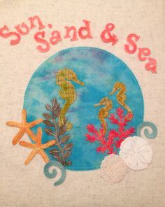 "Wool appliqué hand stitched by Mary Thom  ""Beach Memories"" kit from Pretty Penny Precuts"