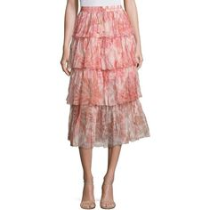 Zimmermann Winsome Tiered Tie-Dye Midi Skirt ($340) ❤ liked on Polyvore featuring skirts, apparel & accessories, tye dye skirt, tie dye skirts, bohemian style skirts, tie-dye skirts and long skirts