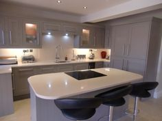 #CrystalRoyal cream #quartz looks fabulous on these grey #CookeLewis kitchen units.