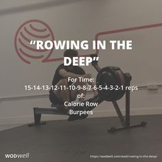 """""""Rowing in the Deep"""" WOD - For Time: reps of:; Crossfit Burpee, Crossfit Workouts At Home, Crossfit Humor, Crossfit Motivation, Rowing Wod, Rower Workout, Health, Gymnastics, Training"""