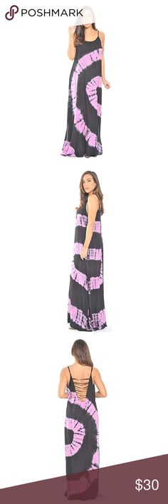 ☀️ WEEKEND SALE ☀️Tye Dye Maxi Dress FEEL BEAUTIFULLY CONFIDENT: With a beautiful flowing fit and unique tie and dye design, this long maxi dress is a stylish way to crown any sunny day. We've designed it using soft woven rayon challis fabric that feels great on the skin for all-day comfort. Gorgeous open back. Dresses