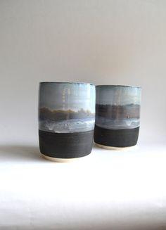 MOUNTAINVISTA : set of ceramic tumblers by mbundy on Etsy