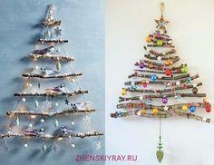 Новогодняя елка из картона фанеры веток и деревянных дощечек фото