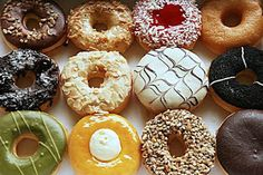 Whether you spell them 'donuts' or 'doughnuts', these delicious treats are sure to be good business! Here are 100 sample donut shop names for inspiration! Topping Donat, Donut Recipes, Cooking Recipes, Donut Shop, Donut Bar, Gluten Free Desserts, Relleno, Pop Tarts, Love Food