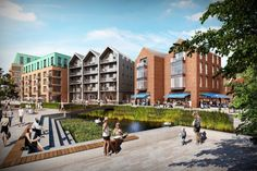The Ram Quarter - Looking across the River Wandle  - LIKE THE BUILDING PROFILE EXTENDING OUT CONCEALING THE BALCONYS