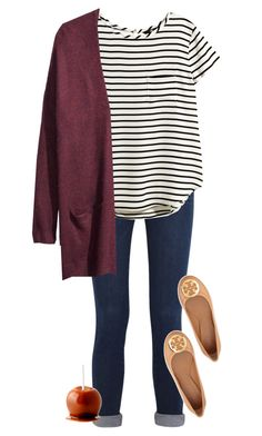 """""""C is for..Cardigans and Caramel Apples"""" by gourney ❤ liked on Polyvore featuring Frame Denim, H&M and Tory Burch"""