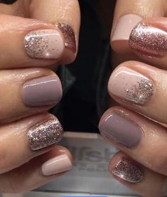 """Nail Trends to Try in 2018 The cool thing about accent nails is that you don't need a design on every finger. Try adding black accents on all ten nails or compliment one or two. """"It can be tricky incorporating black accents to nails,"""" saysA base of silver Fancy Nails, Pretty Nails, Sparkle Nails, Glitter Accent Nails, Shellac Nails Glitter, Summer Shellac Nails, Bio Gel Nails, Rose Gold Nail Polish, Short Gel Nails"""