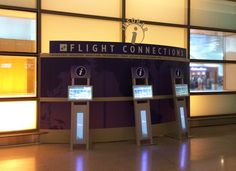The standard Sojourn series kiosks, back-lit lower enclosure, and Teguar Panel PC touch screen, aligned beautifully for Massport deployment Flight Connections, Kiosk, Museum, Indoor, Touch, Interior, Gazebo, Museums