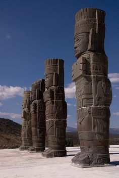 Atlantes de Tula: These atlantes (Toltec warriors columns) originally held up a wooden roof on the top of one of the main pyramids of Tula, Hidalgo, Mexico.