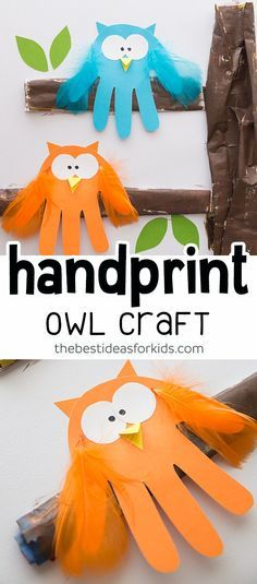 Owl Handprint Craft for Kids - this Owl craft is so fun and easy to make! This owl handprint is a fun Fall craft for kids! Make this adorable owl craft for an indoor autumn craft activity or as a fun keepsake craft. Easy Fall Crafts, Crafts For Kids To Make, Projects For Kids, Kids Crafts, Art For Kids, Craft Projects, Autumn Crafts For Kids, Winter Craft, Craft Kids