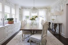 White French Cane Back Dining Chairs with Walnut Stained Trestle Dining Table, Transitional, Dining Room, Benjamin Moore White Dove