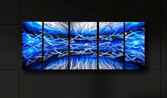 Abstract metal wall art painting Blue scene modern by HawkArtWorks, $199.00