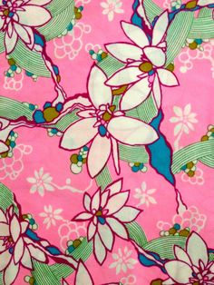 Wild and Wacky 60s Tropical French Floral Fabric with by KimberlyZ
