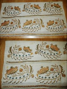 Embroidered 'yağlık' (large handkerchief, part of traditional festive costumes, usually worn in the waist belt).  From the Kütahya region, late-Ottoman era, ca. 1900.  Embroidered with golden & silvery metal thread, and silk.  (Source: Antika Osmanlı Tekstil, Istanbul).