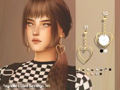 sims 4 cc // custom content accessories// The Sims Resource // // Magnolia-C - Eva Earrings Set The Sims 4 Pc, Sims Four, Sims 4 Mm, My Sims, Vêtement Harris Tweed, Sims 4 Piercings, Sims 4 Anime, The Sims 4 Cabelos, Sims 4 Dresses