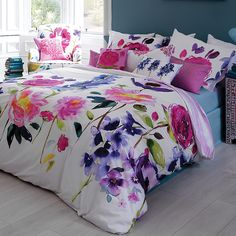 Add painterly elegance to the home with this Wisteria duvet cover from Bluebellgray. A classic example of Bluebellgray's beautiful painterly creations, this duvet cover is adorned with a fresh spray Floral Bedding, Cotton Bedding, Bright Bedding, Striped Bedding, Pink Bedding, Purple Duvet, Floral Bedroom, Queen Bedding, King Comforter