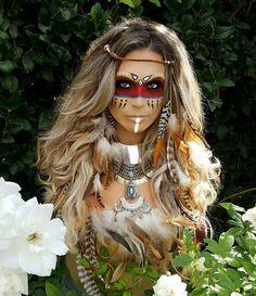 maquillaje de halloween opciones originales estilo tribal