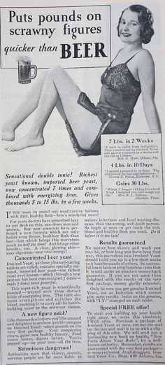 Puts pounds on scrawny figures quicker than BEER Physical Culture, October 1932