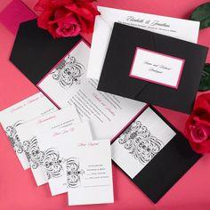Pink and black pocket wedding invites