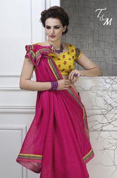 Shop for refulgent pink saree @ Rs 1150 .  #IndianSarees  #OnlineShopping #Silksaree #PartyWearSaree