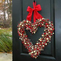 Red+Heart+Wreath++Valentine+Wreath++by+EverBloomingOriginal,+$75.00