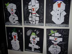 Map juf Ineke: winter. De kinderen plakken een sneeuwpop na van mozaïekvormen.