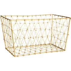 H&M Storage basket in metal wire ($20) ❤ liked on Polyvore featuring home, home decor, small item storage, gold, h&m and rectangular storage baskets