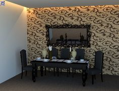 Επένδυση τοίχου τραπεζαρίας με διακοσμητικά ανάγλυφα πάνελ από Καπλαμά-Λούστρο [Σειρά Engraved] Vanity, Mirror, Furniture, Home Decor, Dressing Tables, Powder Room, Decoration Home, Room Decor, Vanity Set
