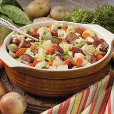 "Cabbage Sausage Supper Recipe -""Everyone is surprised at how this flavorful combination calls for just a few ingredients,"" comments Ruby Williams from Bogalusa, Louisiana. ""I complete the meal with a no-bake fruit dessert."""