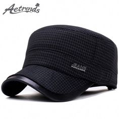 7ffd7ddd3ac95 AETRENDS  2017 New Winter Military Hats for Men Warm with Ear Flaps Flat  Caps Dad