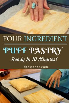The Best 4 Ingredient 10 Minute Puff Pastry This 10 minute puff pastry will be your new go to recipe. You'll also love the quick video that shows you 4 ways to make delicious puff pastry treats. Easy Puff Pastry Recipe, Pastry Dough Recipe, Puff Pastry Desserts, Puff Pastry Dough, Bread And Pastries, Rough Puff Pastry, Homemade Pastries, Sweet Recipes, The Best