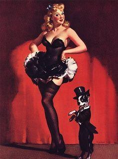 Sale ELVGREN pinup showgirls BURLESQUE Pin-Up Boston Terrier lingerie stockings, Crinoline, nylons Large Canvas Giclee PINUPS. $125.00, via Etsy.