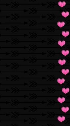 Black and pink border hearts wallpaper pink and black wallpaper, black background wallpaper, black