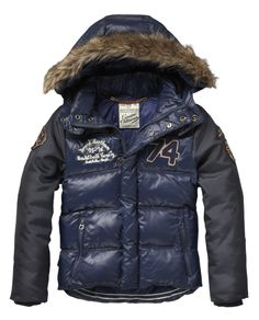Worked-out mix down jacket with detachable hood - Jackets - Scotch & Soda Online Shop