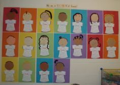 "SS.5.26 Identify differences between people of different cultures, backgrounds, and abilities. SS.5.27 Notice people""s skin and explore the differences. SS.5.28 Discuss how grandparents and older people look and act different from children. Age 4-5 Rainbow-of-Friends. Cultural Bulletin Board that celebrates the diversity in the classroom !"