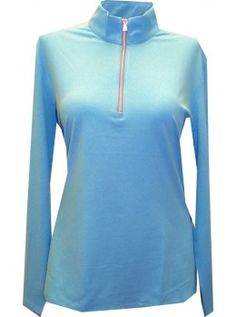 Greg Norman Ladies Basic 1/2 Zip Mock Neck Golf Pullover Long Sleeve Polo-Blue Heather