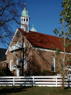 Home Moravian Church, built in 1800,  in the Old Salem Historic District in Winston-Salem, NC, located on Salem College campus.