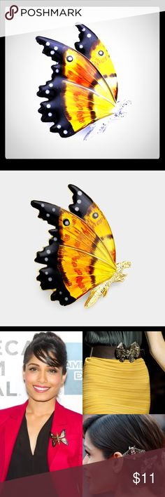 "BRAND NEW Enameled Butterfly Pin Brooch WT[193728]BR7125-S • Color : Black, Orange, Silver, Yellow • Theme : Butterfly  • Size : 1.5"" X 1.75"" • Material : Lead and nickel compliant • Enamel Butterfly Pin Brooch Jewelry Brooches"