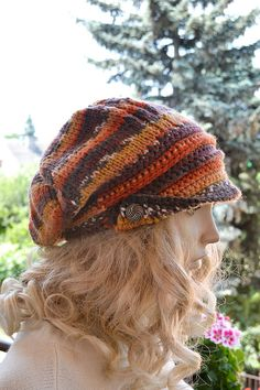 Knitted and Crocheted PEAKED Cap beanie Slouchy by DosiakStyle