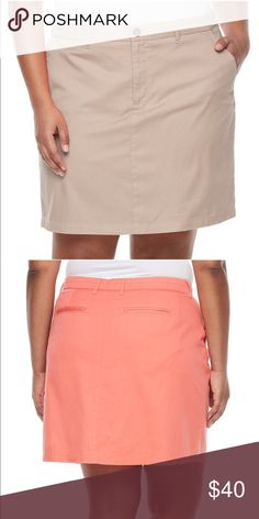 Croft & Barrow Twill Essential Skort Plus New Sport a classic and stylish look without sacrificing comfort with this Croft & Barrow twill skort.  PRODUCT FEATURES •4-pockets •Comfortable twill construction •Attached shorts  FIT & SIZING •Skirt length 18-in. •5.5-in. approx. inseam •Zipper fly  FABRIC & CARE •Cotton, spandex •Machine Wash •Imported  Color is tan as shown in first photo.  New with tags. croft & barrow Shorts Skorts