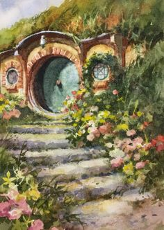 Plein Air Watercolor Painting of a Hobbit House at Hobbiton New Zealand Design new zealand Hobbit House 4 – Hobbiton New Zealand Hobbit Door, Hobbit Art, The Hobbit, Lotr, Fantasy Landscape, Fantasy Art, Middle Earth, Lord Of The Rings, House Painting