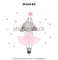 Cute little girl in pink ballerina skirt reaching for her star. Vector doodle illustration in pink colour for girlish designs like textile apparel print, wall art, poster Dream Big, Girls Dream, Doll Drawing, Cute Little Girls, Pink Color, Colour, Royalty Free Photos, Pink Girl, Illustration