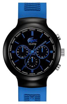 Lacoste 'Boreno' Chronograph Silicone Strap Watch, 44mm | Nordstrom