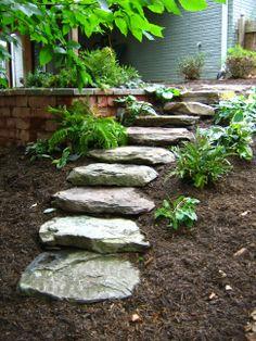 Dry stack stone stepping stone walk