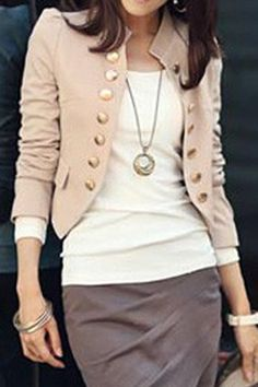 Stylish Stand-Up Collar Long Sleeve Double-Breasted Women's Blazer Blazer | RoseGal.com Mobile